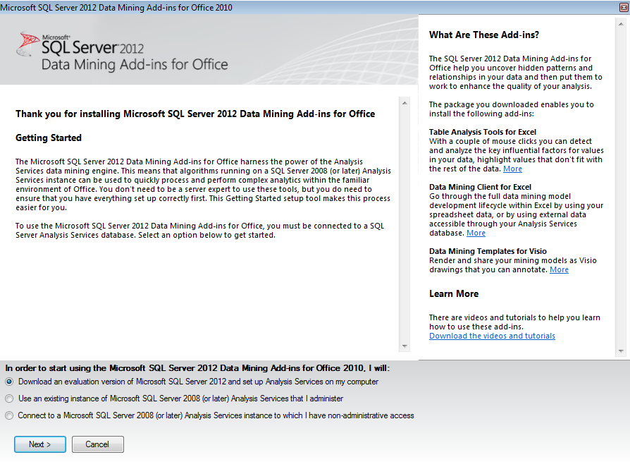 Excel data mining add in sql server 2012